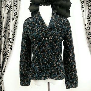 UO Kimchi Blue Floral Velvet Blazer Jacket